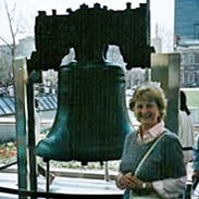 Mom standing in front of the Liberty Bell